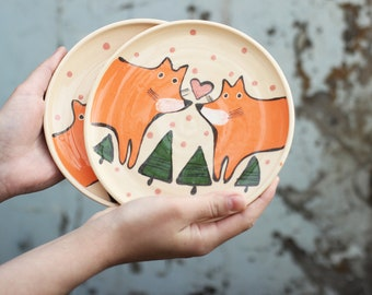 Cute Pottery Plate with Red Foxes in Love - Handpainted Ceramic Plate - Woodland Animals Painting - Childs Dessert Plate - Kids Cookie Plate