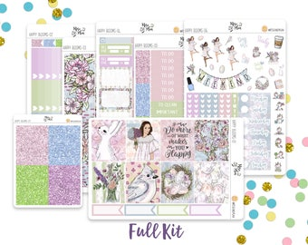 Happy Blooms- A LA CARTE Vertical Weekly Kit planner stickers- Spring, Bunny, Easter