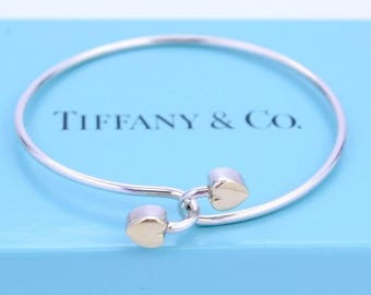 Tiffany 18kt Gold Silver Intertwined Double Heart Bangle Tension Bracelet