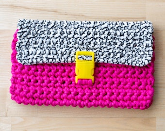 Pink/Black + White Two Tone Chunky Crochet Clutch Bag with Buckle Closure