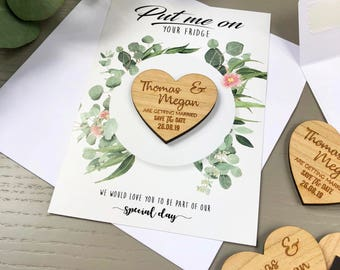 Save The Date Magnet with Cards - Personalised Wedding Invitation Boho Heart Spring Summer Save-the-Date - Wooden Save The Dates - Botanical