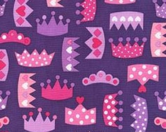 Ann Kelle - Princess Life Crowns Purple by Robert Kaufman Cotton Quilting Fabric by meter (1.1 yard)