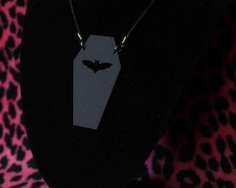 Acrylic bat coffin necklace