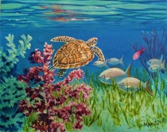 Under The Sea original oil Painting stretched canvas turtle fish coral reflections  Top selling artist