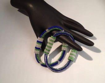 Blue & Green Bangle Bracelet Set