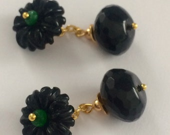 Gilt cufflinks with Faceted Emerald and black Agate cabochons