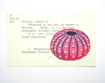 Urchin Library Card Art - Print of my painting of a pink, purple and gold sea urchin on a library card catalog card