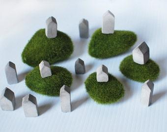 Tiny City: Mini Concrete Modern Architecture SET OF 12