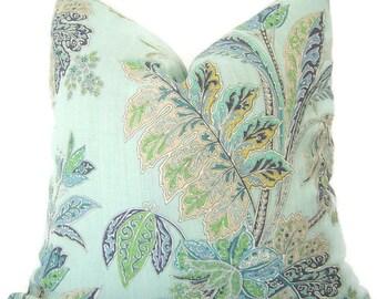 Floral Pillow - Decorative Pillow - Aqua Floral Pillow - Toss Pillow - Sofa Cushion - Throw Pillow - Floral Throw Pillow - PILLOW COVER ONLY