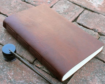 """7x9 """" Leather journal / notebook with parchment paper - Handbound leather journal"""
