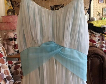 Vintage 1960s Lingerie Nightgown Nightie Sheer White Pale Blue Rogers Label All Nylon