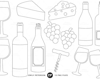 50% OFF SALE! Wine Digital Stamps, Cheese Line Art, Grapes Clip Art - Commercial Use, Instant Download