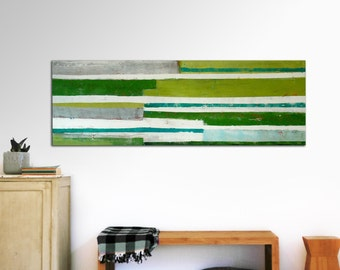 """XL Abstract painting - Green lines landscape - Acrylic Modern Art -  59.1"""" x 19.7"""""""