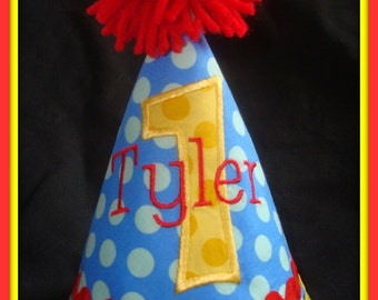 PERSONALIZED BOY'S Birthday Hat SMASH Cake Hat 1st Birthday Hat 2nd Birthday hat- Bright Blue, Yellow and Red