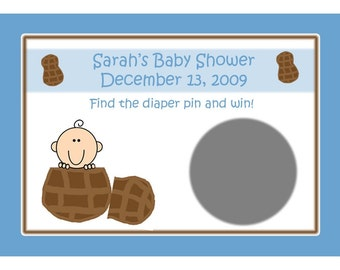 24 Personalized Baby Shower Scratch Off Game Cards   LITTLE PEANUT