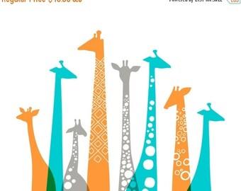 "20X16"" giraffes landscape giclee print on fine art paper. teal turquoise blue, orange, gray."