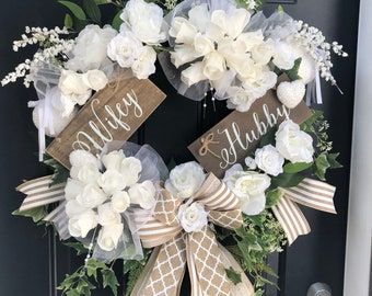 Wedding wreath for front door, wedding wreath with sign, bridal wreath for door, bride groom wreath, white wedding wreath, elegant wedding