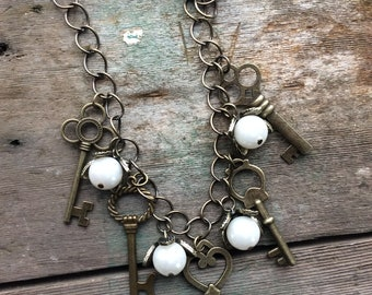 Pearl and Key Necklace, Statement Necklace, Victorian