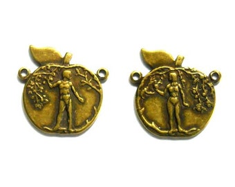2 Antique Brass Adam And Eve Connectors - 1-70