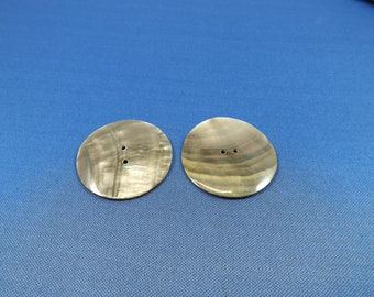 2 Shell Buttons, Black Lip Shell, 1.5 inch large buttons, 40mm, Jewelry Making Supplies, Native American Jewelry Supplies