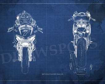 2017 CHAZ DAVIES' DUCATI Blueprint,Front and Rear,Art Print larger sizes,Race Bike Art print,Art for men cave, Christmas gift,bike art