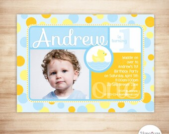 Rubber Duck 1st Birthday Invitation - Rubber Duck First Birthday Invitation - Rubber Ducky First 1st Birthday - Photo Card PRINTABLE