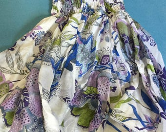 Floral Ruffle Skirt - Vintage Boho Chic - Size: S