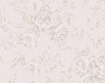 Emma's Garden  Cotton Fabric Clothworks Y1918-61 Light Taupe Tonal Roses