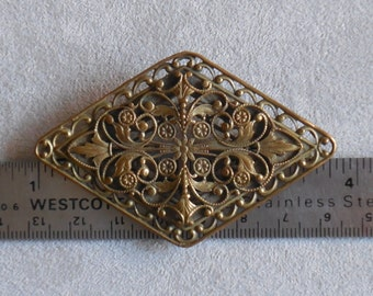 Art Nouveau Bronze Sash Diamond Shaped Pin Brooch : Elaborate Leaf and Floral Design ~Antique