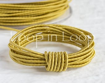 Golden SILK cord Wrapped Silk Satin Cord rope 1.5 mm thick organic natural hand spun silk polyester core Jewelry Supplies (3 feet)
