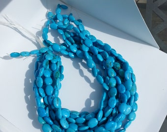Turquoise/Black Oval Flat 10 mm