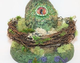 Newborn Dragon Egg in Nest - Handpainted Eye