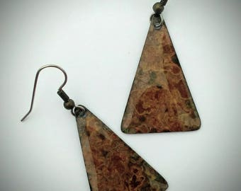 Brass  Earrings / Brass Patina Triangle Earrings / Ice Resin / Brass Earrings / Brass Jewelry