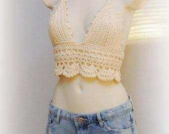 Hippie festival outfit - light beige crochet crop handmade top, festival essentials this summer, beach outfit, summer clothing,  top bra.