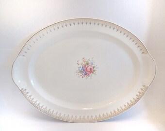 Vintage Platter Dinner Oval Serving Platter American Vintage Floral Gold Edging Taylor Smith Taylor Oval Platter Vintage Dinner Plate