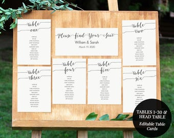 Printable Seating Chart Kit - Instant Download - Table 1-30 and head table -  Editable PDF - 5x7 table cards and 4x9 title card - #GD0713