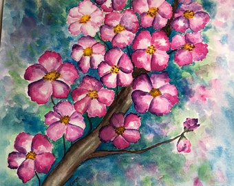 "Cherry Blossom Original watercolor painting 11""x14"""