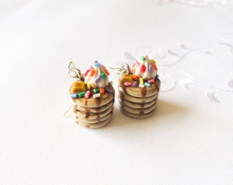 Sprinkle Pancake Earrings, Food Earrings, Polymer Clay, Cute Earrings, Charm Earrings, Food Jewelry, Pancakes, Sprinkles