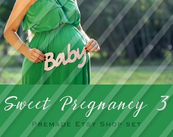 "Etsy Shop Banner Set - Graphic Banners - Branding Set - ""Sweet Pregnancy 3"""