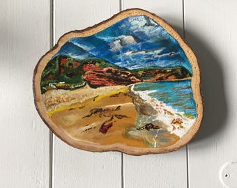 Pease Bay Berwickshire - Original acrylic painting on recycled wood slice