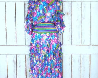 Vintage Diane Fres Original sheer striped floral sequins long ruffle dress/colorful sequin ruffle party hostess dress