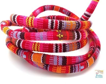 PINK / orange: 1 m cord weaving ethnic diameter 6mm (fil107)