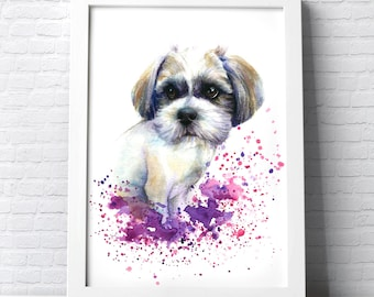 Custom Pet Portrait colourful illustration made with watercolours and pastels personalised painting dog cat