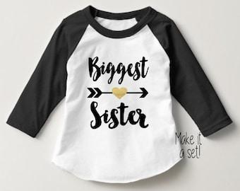 Biggest Sister Shirt Baby Announcement Shirt Girl Sibling Shirts Baby Announcement Shirt tribal sister shirt Big Sister Raglan Hipster