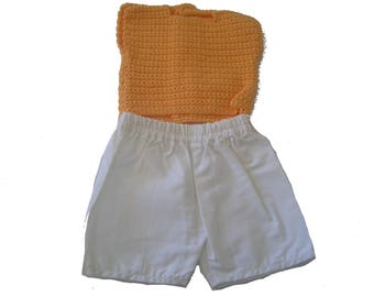 Summer fabric shorts and top orange baby doll crocheted 36 cm hand set