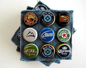 Football Party Decoration, Man Cave Decor, Rustic Bottle Cap Coaster Set (4), Recycled gifts, Sports Fan Gift, Eco-friendly Gifts for Men