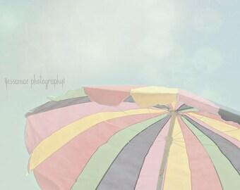 Beach Umbrella Art, Beach Print, Pastel Beach Photography, Beach Umbrella Print, Beach Scene, Beach Decor, Umbrella Art, Summer Print Art