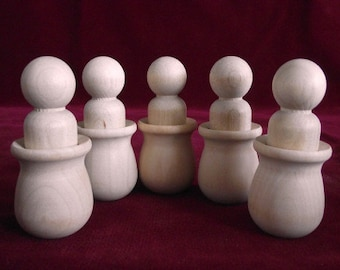 5 PREMIUM Bean Pots with 5 No. 5 Lg. Boy Peg Dolls