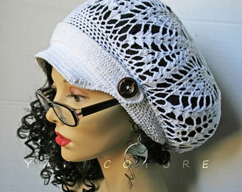 Limited Edition Bohemian Design Crocheted Lace Hat w/Brim - Stretch Satin Lining