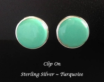 Clip On Earrings 355:  Sterling Silver Clip On Earrings with Turquoise Gemstone | Silver Earrings, Gifts for Women, Gift Idea